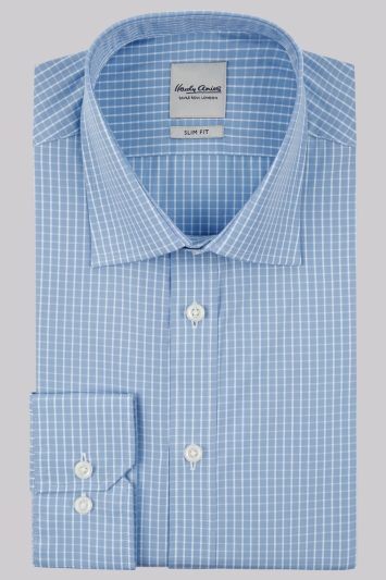 Hardy Amies Slim Fit Sky Single Cuff Check Shirt