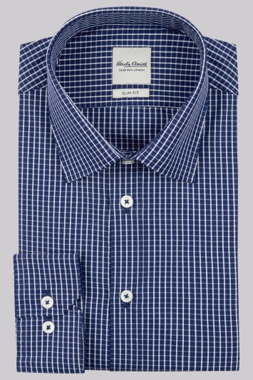 Hardy Amies Slim Fit Navy Single Cuff Check Shirt