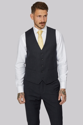 Moss 1851 Tailored Fit Charcoal Melange Stripe Waistcoat