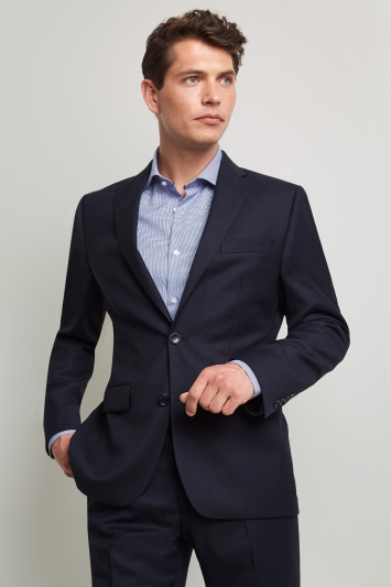 Moss 1851 Tailored Fit Navy Birdseye Jacket