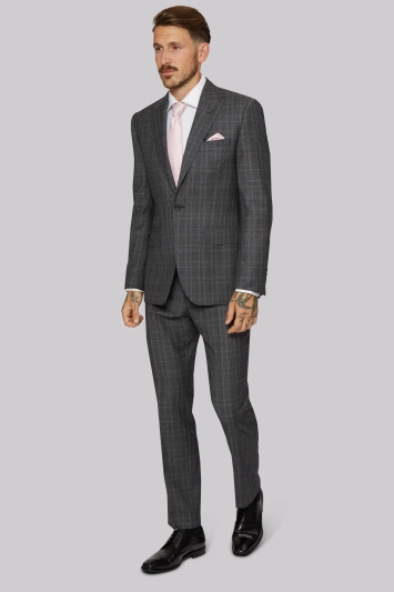 Moss 1851 Tailored Fit Grey with Lilac Check Jacket
