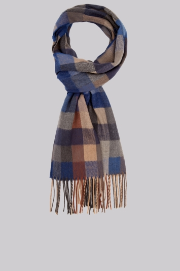Moss 1851 Cobalt Blue Battenburg Check Scarf