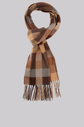 Moss 1851 Camel Battenburg Check Scarf