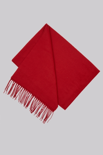 Moss 1851 Red Plain Scarf