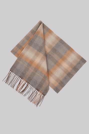 Moss 1851 Grey & Camel Ombre Check Scarf