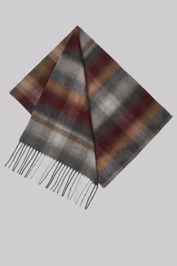 Moss 1851 Wine Ombre Check Scarf
