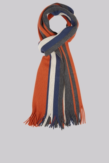 Moss 1851 Orange Knitted Block Stripe Scarf