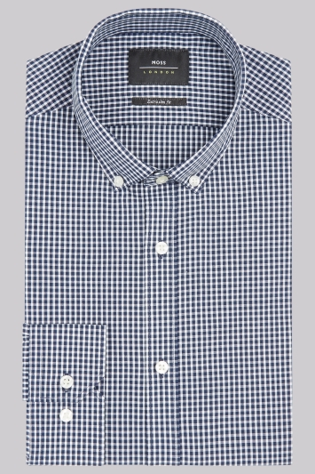 Moss London Extra Slim Fit Navy Single Cuff Gingham Button Down Shirt