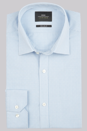 Moss London Extra Slim Fit Sky Single Cuff Dobby Check Shirt