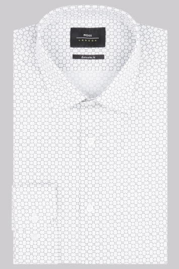 Moss London Extra Slim Fit Black & White Single Cuff Geo Print Shirt