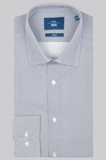 Moss 1851 Slim Fit Navy Single Cuff Printed Shirt