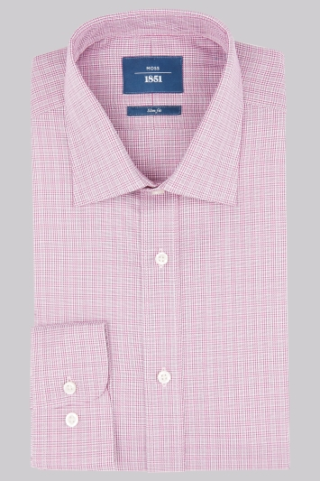 Moss 1851 Slim Fit Berry Single Cuff Check Shirt
