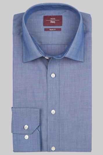 Moss Esq. Regular Fit Denim Blue Single Cuff Chambray Non-Iron Shirt
