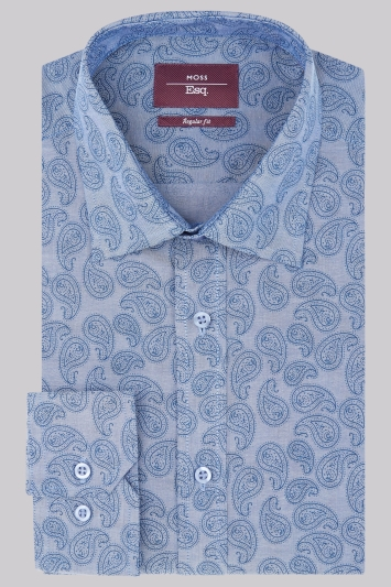 Moss Esq. Regular Fit Blue Single Cuff Chambray Paisley Print Shirt