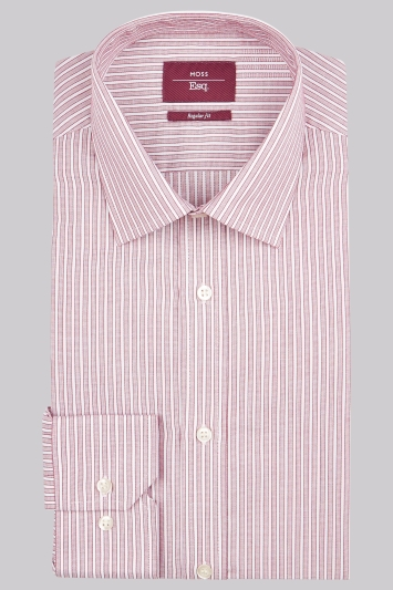 Moss Esq. Regular Fit Wine Single Cuff Stripe Non-Iron Shirt