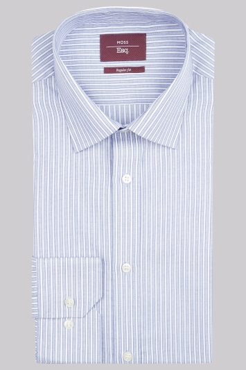 Moss Esq. Regular Fit Blue Single Cuff Stripe Non-Iron Shirt