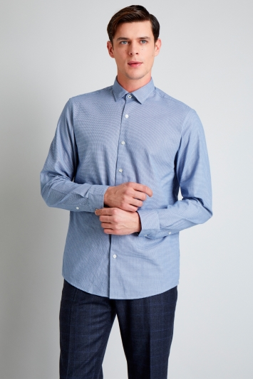 Moss 1851 Slim Fit Navy Textured Casual Shirt
