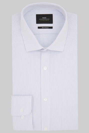 Moss London Premium Extra Slim Fit Blue Single Cuff Dobby Stripe Shirt