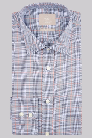 Savoy Taylors Guild Regular Fit Navy & Orange Single Cuff Check Shirt