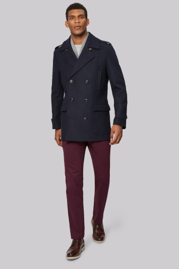 Moss 1851 Tailored Fit Navy Pea Coat
