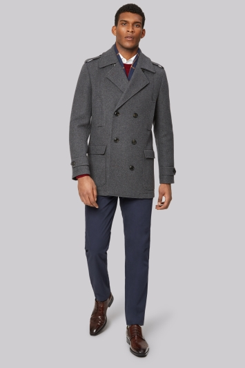 Moss 1851 Tailored Fit Grey Pea Coat