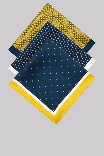 Moss 1851 Yellow & Navy 3 Pack Pocket Square Gift Set