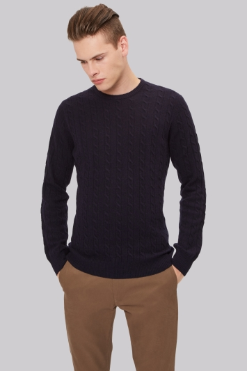 Moss London Navy Cable Crew Neck Jumper