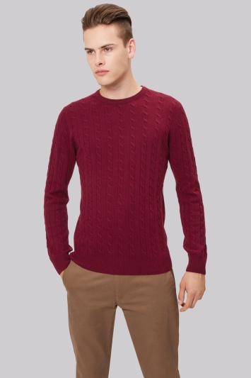 Moss London Wine Cable Crew Neck Jumper