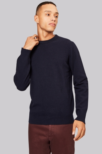Moss London Navy Crew Neck Jumper