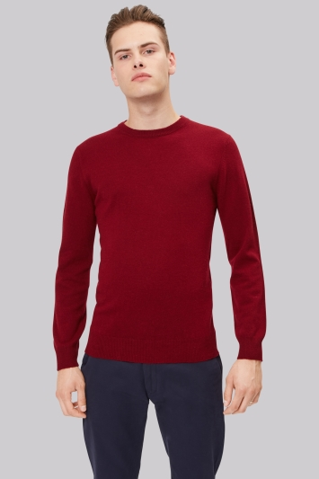 Moss London Wine Crew Neck Jumper