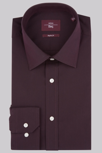 Moss Esq. Regular Fit Red Single Cuff Shirt