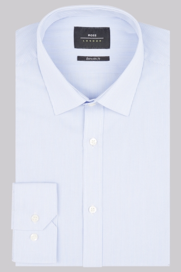 Moss London Extra Slim Fit Sky Single Cuff Stripe Shirt