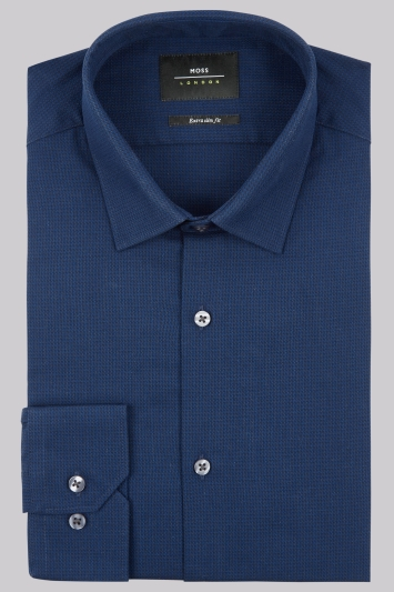 Moss London Extra Slim Fit Blue Single Cuff Puppytooth Texture Shirt