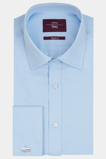 Moss Esq. Regular Fit Blue Double Cuff Dobby Textured Shirt