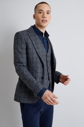 Moss London Skinny Fit Grey with Navy Windowpane Jacket