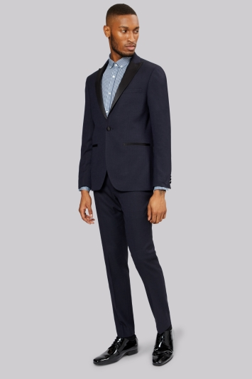 Moss London Navy Jacquard Dinner Jacket