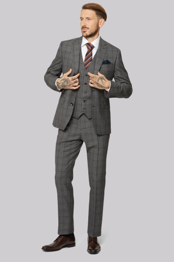 Moss 1851 Tailored Fit Grey Tan Jaspe Check Jacket