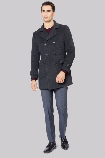 Moss 1851 Charcoal Herringbone Double Breasted Pea Coat