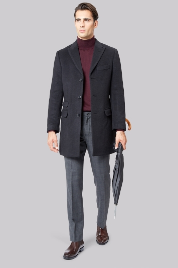 Moss 1851 Black Double Face Overcoat