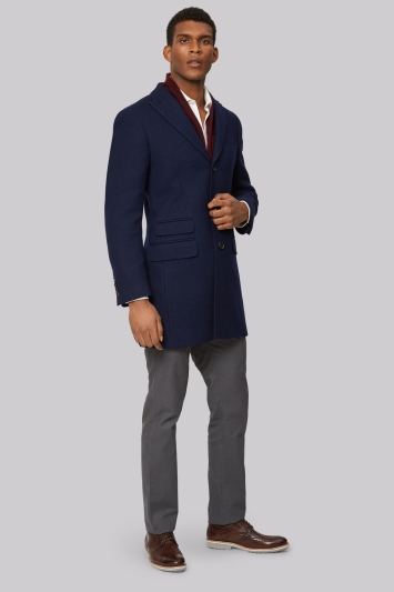 Moss 1851 Navy Double Face Overcoat