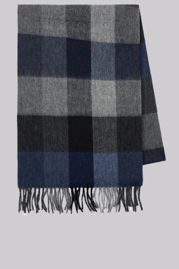 Moss 1851 Navy Check Wool Scarf