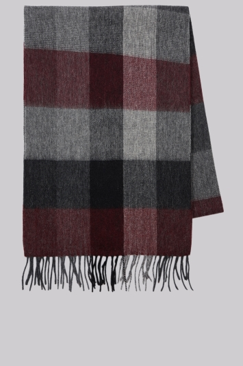 Moss 1851 Wine Check Wool Scarf