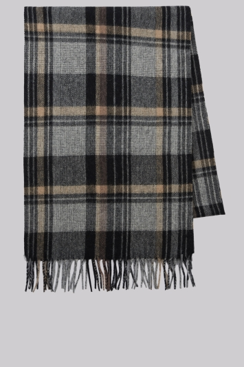 Moss 1851 Brown Check Wool Scarf