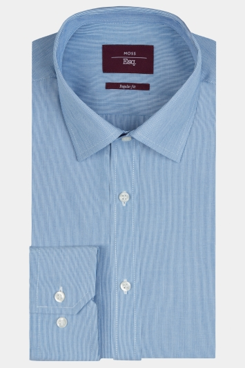 Moss Esq. Regular Fit Navy Single Cuff Hairline Stripe Shirt