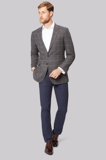 Ermenegildo Zegna Cloth Grey Brown Windowpane Jacket