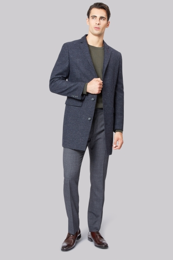 Moss 1851 Tailored Fit Navy Textured Overcoat