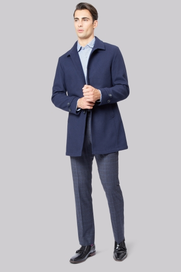 Moss 1851 Tailored Fit Navy Performance Bonded Coat