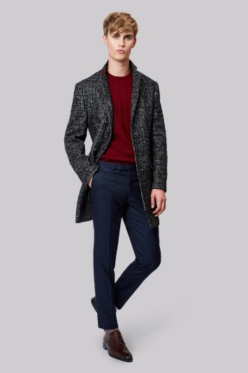 Moss London Slim Fit POW Check Overcoat
