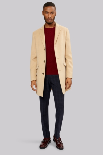 Moss London Slim Fit Soft Camel Overcoat