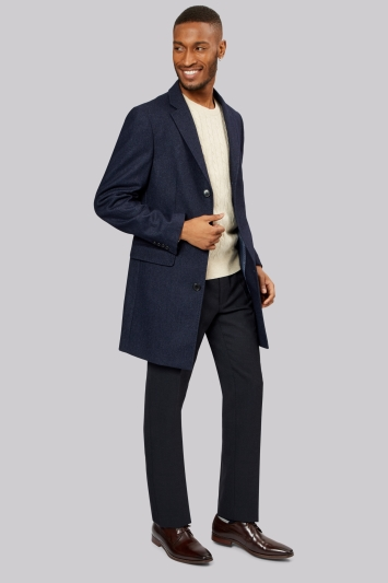 French Connection Slim Fit Navy Speckled Overcoat